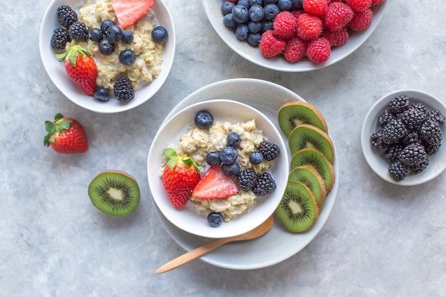 fruit, high fibre oats and high protein milk
