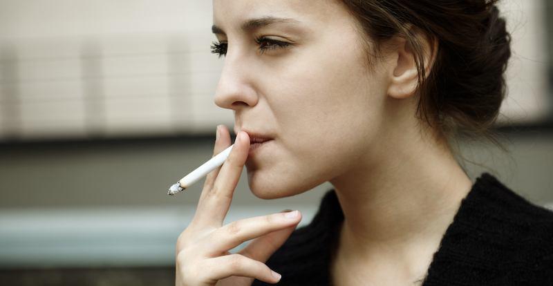 caucasian woman smoking.