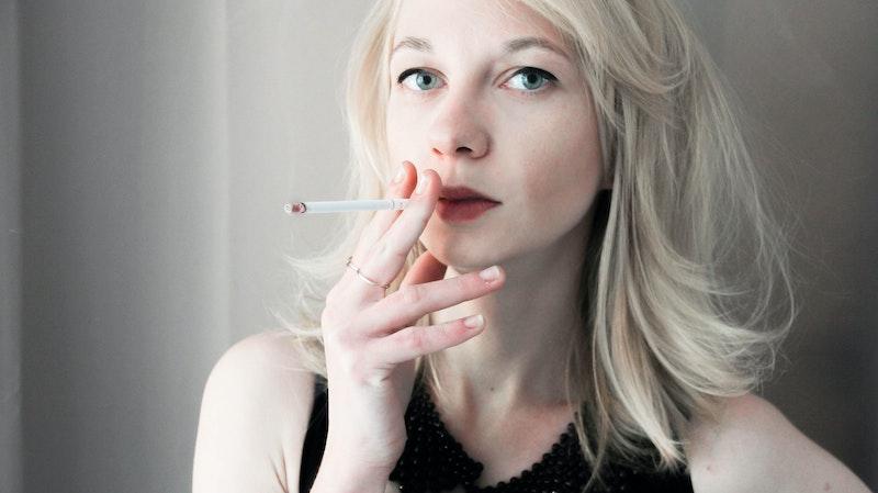 woman smoking blonde