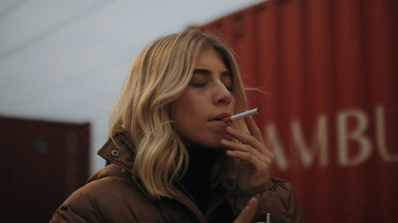 blonde smoking