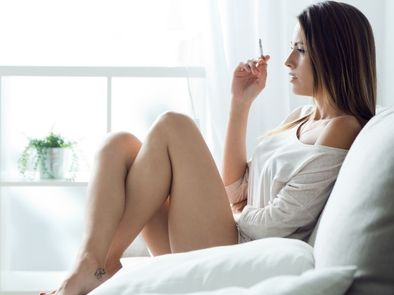 wife smoking for husband