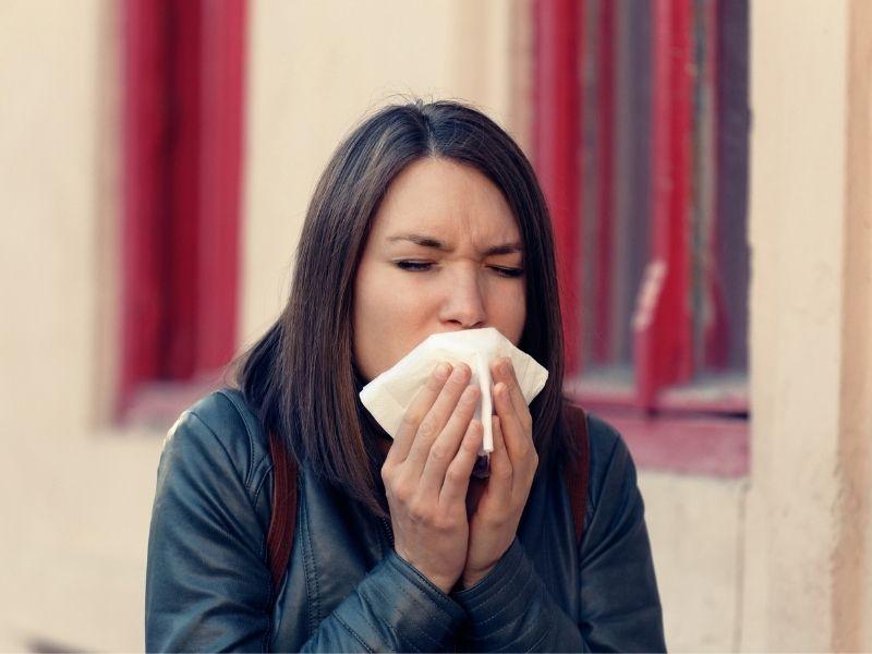 woman sick cigarette